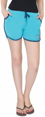 Red Ring Solid Women's Blue Night Shorts