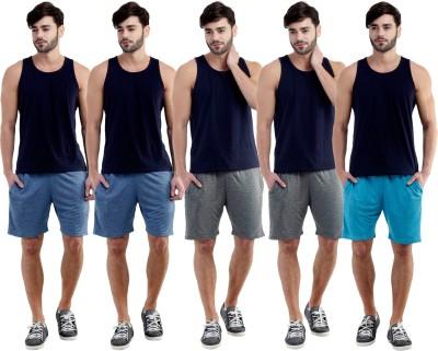 Dee Mannequin Self Design Men's Dark Blue, Dark Blue, Grey, Grey, Blue Sports Shorts