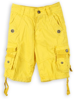 Lilliput Solid Boy's Yellow Cargo Shorts