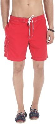 Zobello Solid Mens Red Swim Shorts