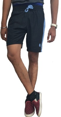 London Eye Solid Men's Blue, Light Blue Sports Shorts