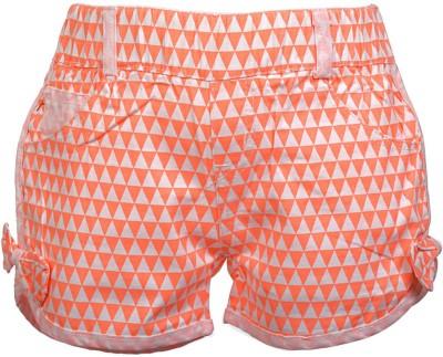 Lil Poppets Printed Girl's Orange Basic Shorts