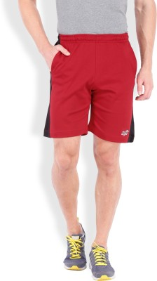2go Solid Men's Red, Black Sports Shorts