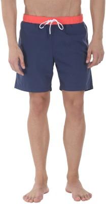 Zobello Solid Mens Blue, Orange Swim Shorts