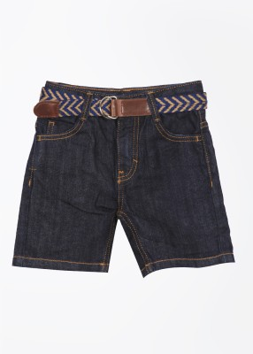 United Colors of Benetton Solid Boy's Blue Denim Shorts