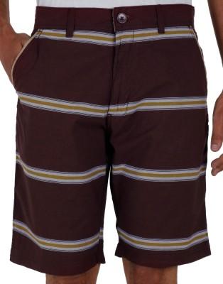 Faraday Striped Men's Maroon Basic Shorts