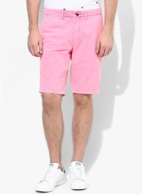 Jack & Jones Solid Men's Pink Denim Shorts