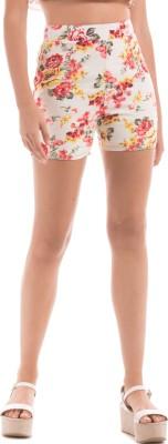 Shuffle Printed Women's Orange High Waist Shorts