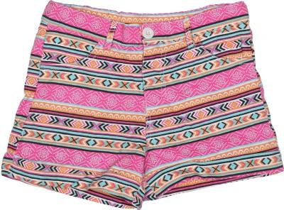 Addyvero Printed Girl's Pink, Orange Basic Shorts