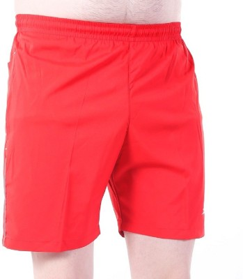 Zagros Solid Men's Red, White Sports Shorts, Gym Shorts, Cycling Shorts