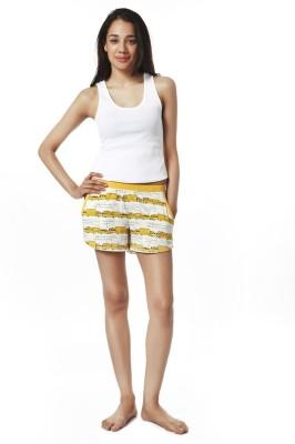 Mystere Paris Printed Women's Yellow Night Shorts
