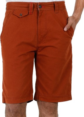 Faraday Solid Men's Brown Basic Shorts