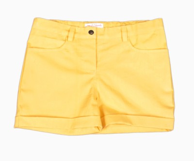 My Little Lambs Solid Girl's Yellow Basic Shorts