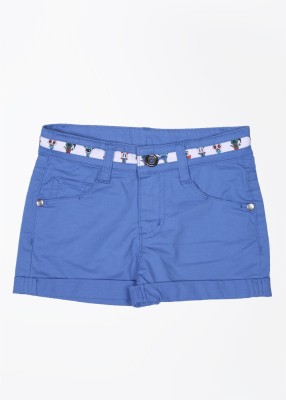 United Colors of Benetton Solid Baby Girl's Blue Basic Shorts