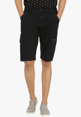 Fever Solid Men's Black Denim Shorts