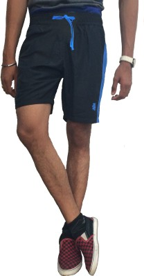 London Eye Solid Men's Blue, Dark Blue Sports Shorts