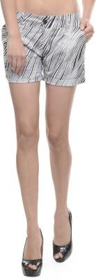 Sobre Estilo Striped Women's Black Hotpants