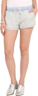 Paprika Solid Women's Light Blue Basic Shorts