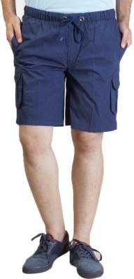 Seaboard Solid Men's Blue Cargo Shorts