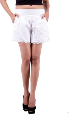 Goodwill Impex Solid Women's White Basic Shorts