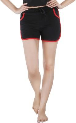 Nite Flite Solid Women's Black, Red Night Shorts