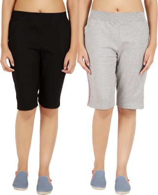 NOTYETbyus Solid Women's Black, Grey Cycling Shorts