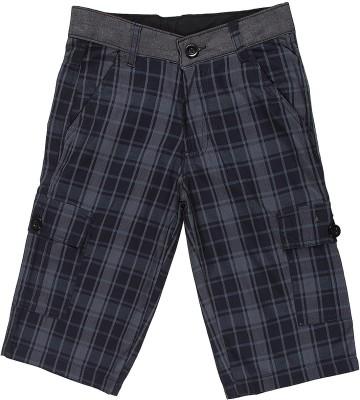 Silver Streak Checkered Boy,s Black Bermuda Shorts
