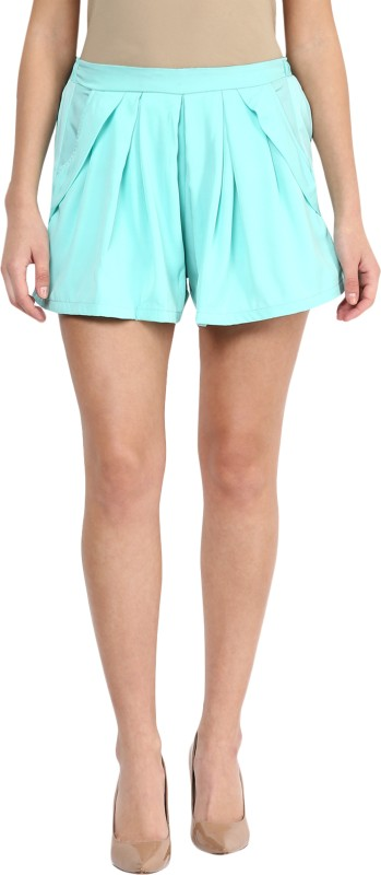 Miss Chase Solid Women's Blue Beach Shorts