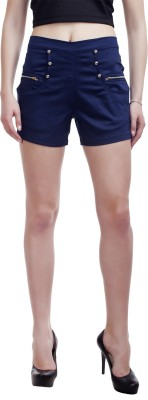 Peptrends Solid Women,s Blue Hotpants