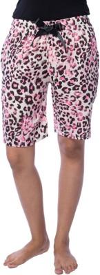 Nite Flite Animal Print Women's Pink, Black, White Bermuda Shorts