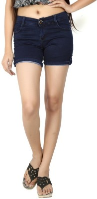 Logus Solid Women's Dark Blue Denim Shorts