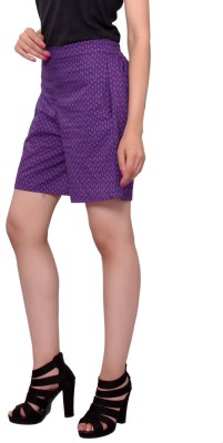 MSONS Printed Women's Purple High Waist Shorts