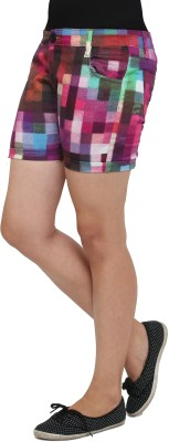 Cottinfab Checkered Women's Multicolor Denim Shorts