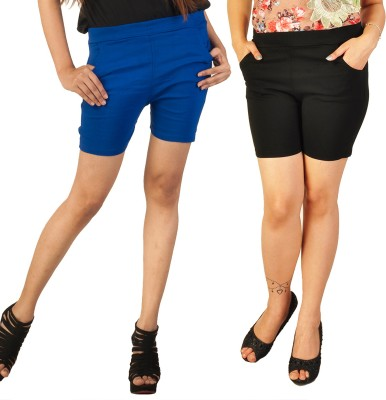 Berries Solid Women's Blue, Black Hotpants