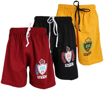 WEECARE Solid Boy's Black, Gold, Maroon Sports Shorts