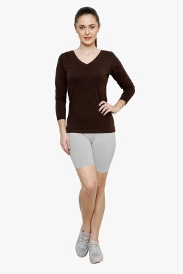 Softrose Solid Women's Grey Cycling Shorts