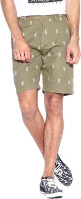Blue Wave Printed Men's Beige Basic Shorts
