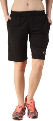 Arcley Solid, Printed Women,s Black Gym Shorts