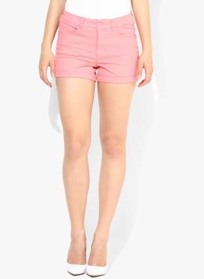 Vero Moda Solid Women's Pink Denim Shorts