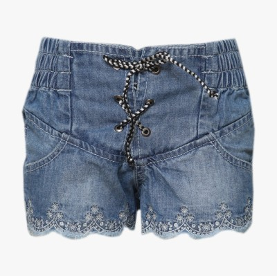Tales & Stories Embroidered Baby Girl,s Denim Light Blue Basic Shorts