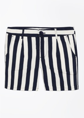 United Colors of Benetton Striped Baby Girl's White, Blue Basic Shorts