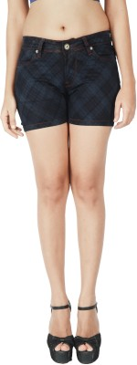 Integriti Checkered Women's Black Denim Shorts