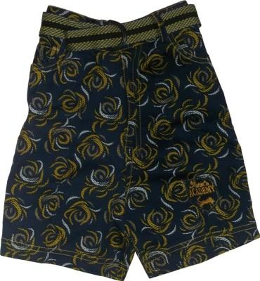 Red Rose Printed Boy's Blue Cycling Shorts