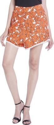 Globus Floral Print Women's Orange Basic Shorts