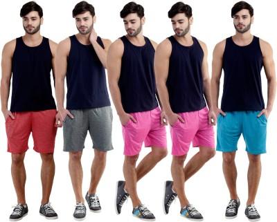 Dee Mannequin Self Design Men's Red, Grey, Pink, Pink, Blue Sports Shorts