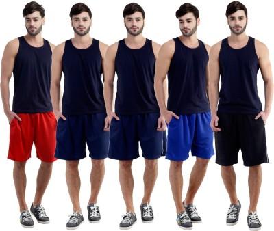 Dee Mannequin Self Design Men's Red, Dark Blue, Dark Blue, Blue, Black Sports Shorts