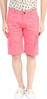 Silver Streak Solid Men,s Pink Cargo Shorts