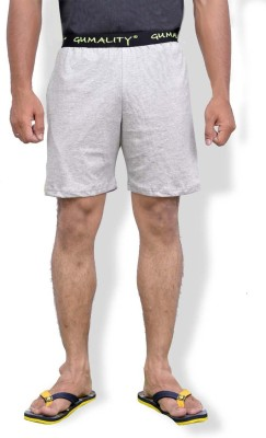 GUMALITY Solid Men's Grey Night Shorts