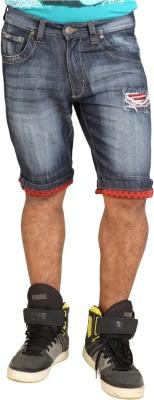 Trustedsnap Solid Men's Dark Blue Denim Shorts