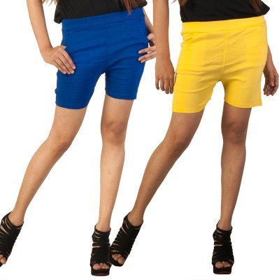 Berries Solid Women's Blue, Yellow Hotpants
